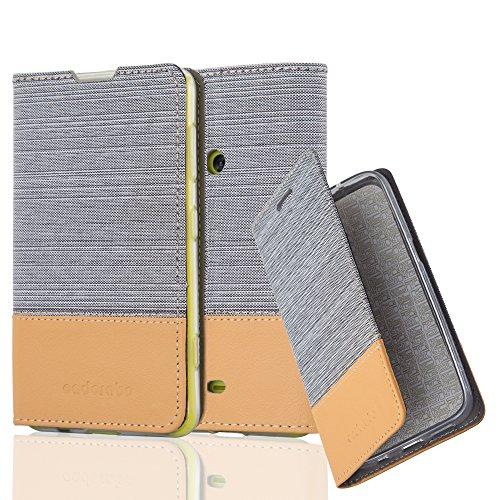 Cadorabo Hülle für Nokia Lumia 625 - Hülle in HELL GRAU BRAUN – Handyhülle mit Standfunktion und Kartenfach im Stoff Design - Case Cover Schutzhülle Etui Tasche Book