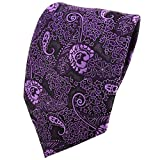 TigerTie Designer Krawatte in lila violett flieder Paisley gemustert