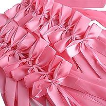 50 Piezas Lazos Decorativos en Satén Decoración para Boda para Sillas Mesas Cestas Copas Coche Regalos de Boda Detalle Elegante de Boda Lazos para Regalos (Rosa)