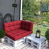 Palettenkissen Palettenmöbel inkl. Europalette & Lehnen Palettensofa Palettenpolster Kissen Sofa Polster Indoor Outdoor (Rot)