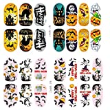 Nail Art ! AMA(TM) 2pcs Halloween Skull Bone Nail Art Sticker Watermark Tattoos Nail Art Tips (D)