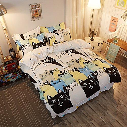 Gato ardilla Dibujos Animados cálido algodón 4piezas Juego de cama (1funda de edredón, 1sábana 1fundas de almohada King doble, algodón, gato, matrimonio