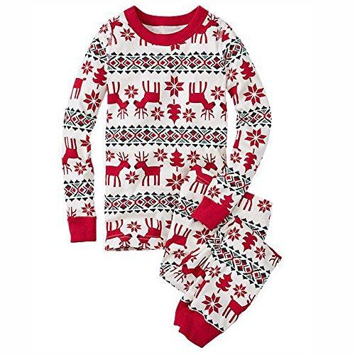 DEEWISH Weihnachten Schlafanzug Familien Outfit Mutter Vater Kind Baby Pajama Langarm Nachtwäsche Print Sleepwear Top Hose Set Christmas Night Clothes Family Homewear (EU 3XL(52), ()