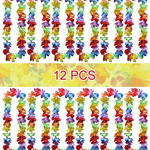 Wocharm 12pcs Leis Flower Garlands Hawaiian/Tropical Party Hen Night Fancy Dress Necklace Beach Party Evening Prom Adults Or Kids (12 pcs)