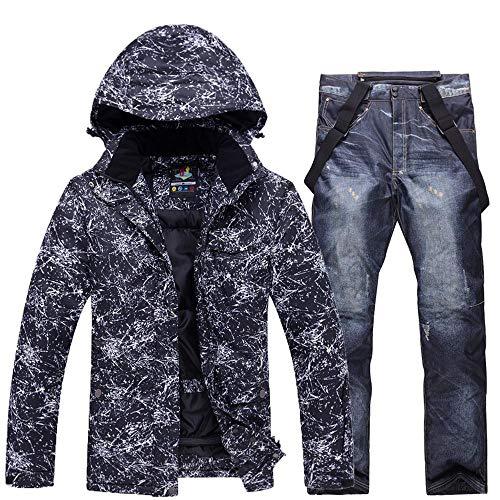 mingliang Tuta da Sci da Uomo A Bordo Singolo A Doppia Tavola Completo da Giacca + Pantaloni Caldo Impermeabile Antivento Denim Black-XXL