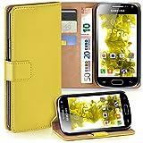 moex Samsung Galaxy Ace 2 | Hülle Gelb mit Karten-Fach 360° Book Klapp-Hülle Handytasche Kunst-Leder Handyhülle für Samsung Galaxy Ace 2 Case Flip Cover Schutzhülle Tasche