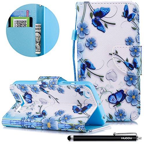 HUDDU Schmetterling Blau Schutzhülle für Xiaomi Redmi 4A Hülle Tasche Leder Flip Wallet Case Cover Handyhülle Magnetic Stand Wrist Notebook für Xiaomi Redmi 4A Klapphülle Hardcase