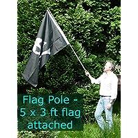 Fahnenmast für die Hand-2Meter - Teleskopmast für die Hand-geeignet für alle Flaggen bis ca. 1,5x 1 m-toll für Musikfestivals, Fußball und Sportverantstaltungen, Partyflaggen, Gartenflaggen, Kinderflaggen, Kinderpartys, Cheerleading, Märsche, Demonstrationen, Fußballfans, politische Flaggen etc.