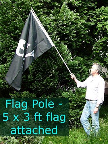 Hand held flag pole-1,8m/2metri telescopica mano waving pennone-adatto per tutte le bandiere fino a ca. 1,5x 0,9m-great for music festival, calcio e sport bandiere bandiere bandiere eventi, feste, giardino, bambini, feste per bambini, cheerleading, marcia, manifestazioni, bandierine da tifoso, politcal rallies, ecc.