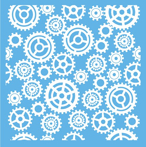 Americana Decor Gears und Zahnrädern Schablone, blau, 12x 12Zoll