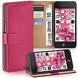 moex iPhone 4S | Hülle Pink mit Karten-Fach 360° Book Klapp-Hülle Handytasche Kunst-Leder Handyhülle für iPhone 4/4S Case Flip Cover Schutzhülle Tasche