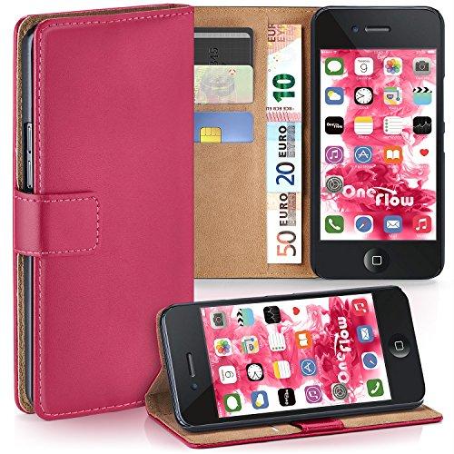 iPhone 4S Hülle Lila mit Karten-Fach [OneFlow 360° Book Klapp-Hülle] Handytasche Kunst-Leder Handyhülle für iPhone 4/4S Case Flip Cover Schutzhülle Tasche BERRY-FUCHSIA