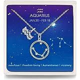 Qings Collana Segno Zodiacale 12 Costellazione Argento Sterling 925 Stelline Oroscopo Pendente Regolabile Collane Regalo di N