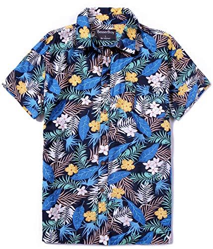 aii Outfit Herren Straight Fit Blumen/Palmblätter Blue 2XL ()