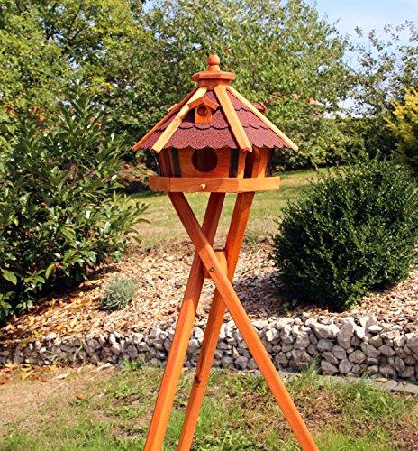 Vogelhaus, Vogelhäuser mit Solarbeleuchtung mit und ohne Ständer behandelt Typ 23 (Rot, mit Ständer)