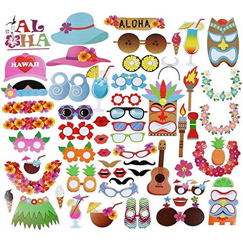 Power Ferhd 60 Stück Hawaiian Photo Booth Requisiten Kit für Urlaub, Sommerfestivals Feiern, Beach Pool Parteien
