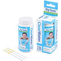 Clearwater CH0012 25 Dip Test Strips for Swimming Pool and Spa Treatment, Measures PH, Alkaline and Chlorine