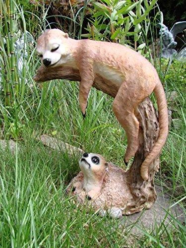 XL Erdmännchen auf Ast Figur Gartenfigur Tier Familie