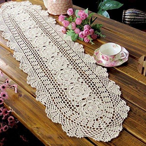 Yazi Handwerk Oval Tisch Läufer Sofa Spitzendeckchen Bezug Vintage Baumwolle für Hochzeit Party Decor Beige 30x 90cm