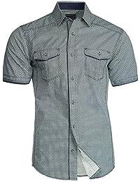Trisens Herren Hemd Shirt Kurzarm Baumwolle Kontrast Knopfleiste Polo Party 8554444bf2