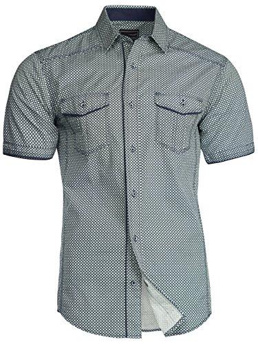 Trisens Herren Hemd Shirt Kurzarm Baumwolle Kontrast Knopfleiste Polo  Party, Farbe Dunkelblau, Größe b6fc0f71ae