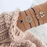 Edary Boho Set di braccialetti vuoti Braccialetti con luna d'oro Accessori per le mani a cuore Catena perline con perline reg