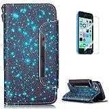 Coque Case for iPhone 5C en Cuir Housse[avec Gratuit Protections D'écran]KaseHom Mode Unique Motif Coloré Dragonne Antichoc PU Portefeuille Etuis-Étoiles Bleue