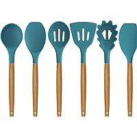 AIKKIL Lot de 7 ustensiles de cuisine en silicone antiadhésif résistant à la chaleur - Bleu