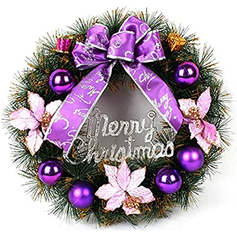 YUYU Accesorios de árbol de Navidad de regalo decorativo púrpura regalo corona corona