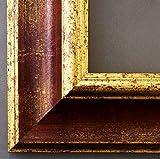 Bilderrahmen Acta Rot Gold 6,7 - Über 100 Größen - 4 Ausstattungsvarianten - Leerrahmen ohne Glas mit Aufhänger - 50 x 70 cm - Antik, Barock