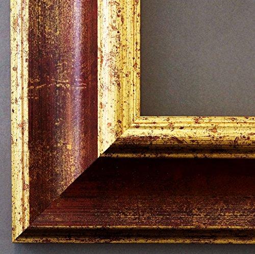 Bilderrahmen Acta Rot Gold 6,7 - Über 100 Größen - 4 Ausstattungsvarianten - Wechselrahmen mit Museumsglas (UV-Schutz 45% - entspiegelt) - 50 x 70 cm - Antik, - Uv-glas-bilderrahmen