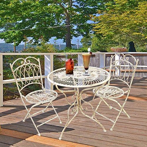 Metall Stuhl (Style home Garten Set Wintergarten Terrasse Bistro Restaurant Esszimmer Tisch und zwei Stühle Metall SH18G03005-WIE)