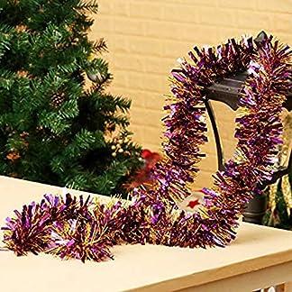 Cosanter 1PCS Cinta de Navidad de Navidad Cintas para Decorativas árbol Navidad Boda Partido Espumillón Guirnalda Adornos de Navidad (Morado) 200cm