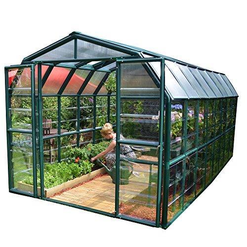 Palram Rion Serre de Jardin Grand Gardener® - Toit en Polycarbonate translucide et Murs Transparents -Verte