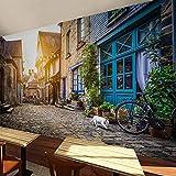 Wandgemälde Benutzerdefinierte Poster Fototapete Europäische Architektur Stadt Street View Malerei Tapete Cafe Restaurant Wand Tapete Wandbilder 3D,280Cm(H)×460Cm(W)