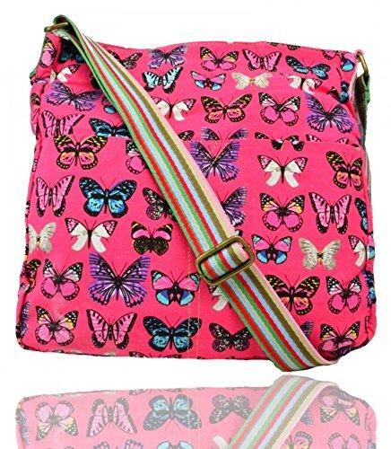LeahWard® Damen Mode Essener KleinCavans Schmetterling Dots Spotted Kreuz Boy Tasche Kuriertaschen Handtasche CW13001-B CWRF13002-B CW13001-PD CW13001-S 13001-B Fuchsia