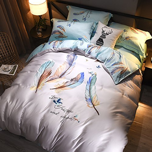 SETXLV Bettwäsche Vier-teilige Reine Seide High-End-vierteilige Seide Blätter Bettwäsche Quilt Seide Bettwäsche Sommer Bettbezug 200 * 230cm (220 x 240 cm) -