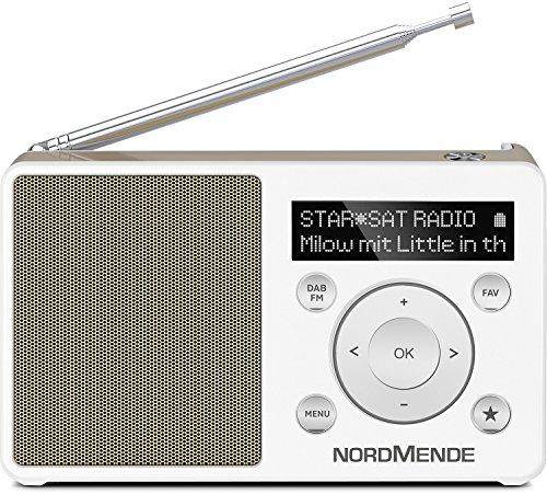 Nordmende Transita 100 / Digital-Radio Made in Germany (klein, tragbar, für Outdoor geeignet) mit Lautsprecher, OLED-Display, DAB+, UKW, Favoritenspeicher und leistungsstarkem Akku, weiß/perlgold