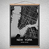 TIANLIANG Moderne Poster World City Karte Blättern Malerei Öl Auf Leinwand Abstrakte Bild Drucken Cafe Bar Mit Rahmen, Newyork, 40 X 60 cm Ohne Rahmen