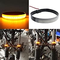 RUNGAO - 1 pieza de tiras LED ámbar para horquilla de motocicleta