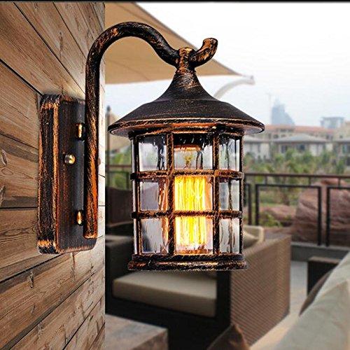 Swing Arm Wand Lampe (VanMe Antike, Rustikale Eisen Wandleuchte Wasserdichte Outdoor Wandleuchte Vintage Licht Flur Wandleuchter, Braun)