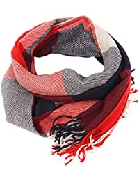 Hengsong Lady Winter Comfy Scarf Muffler With Tassel Grid Pattern Tippet Shawl