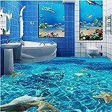 Mznm Custom 3D Boden Wandbild Tapete Meerwasser Seestern Toiletten Badezimmer Schlafzimmer 3D PVC-Bodenbelägen Wasserdicht Selbstklebend Papier 200x140cm