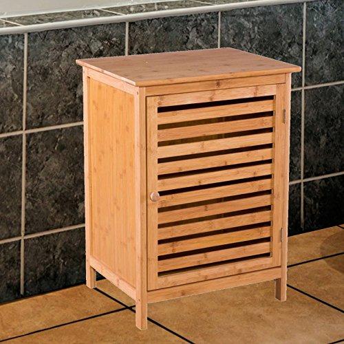 Badezimmerschrank mit Tür und Ablagen aus Bambus - Kommode für Bad und Küche