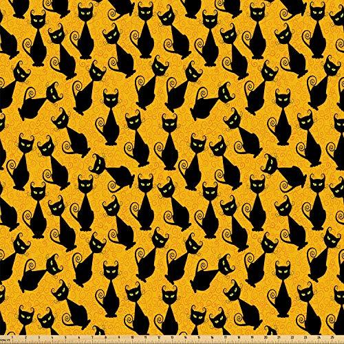 ABAKUHAUS Halloween Stoff als Meterware, Schwarze Katze Vintage, Microfaser Stoff für Kunsthandwerke und Dekoration, 5M (160x500cm), Orange Schwarz (Schwarze Vintage Halloween-dekoration Katze)