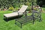 Hanseatisches Im- & Export Contor GmbH 2 x Aluguss Gartenliege Sonnenliege Deckchair Liege Liegestuhl Gartenbett auf Rädern (2 Stück)