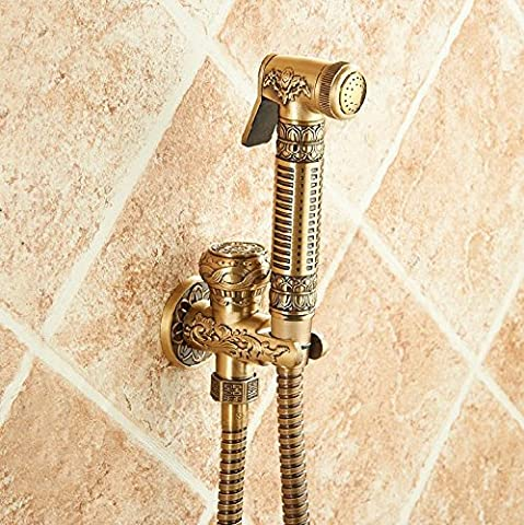Ohcde Dheark Top-Grade Wall Mounted Brass Toilet Sprayer Tap Antique Single Hole Bathroom Mop Cleaning Faucet Bidet