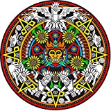 Mayan Fuzzy Velvet Mandala Coloring Poster 20x20 Inches