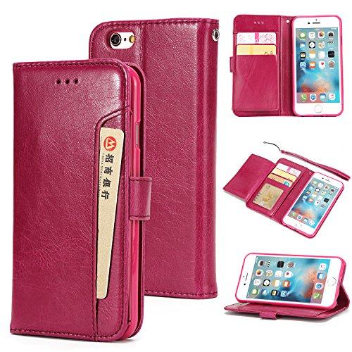 iPhone 7 Plus Hülle Leder, E-Lush Premium PU Leder Tasche für iphone 7 8 Plus(5.5 Zoll ), Einfach Einfarbig Muster Klapphülle 360 Full Body Protection Flip Case Wallet Cover Weiche Flexible TPU Soft R Roter Teil