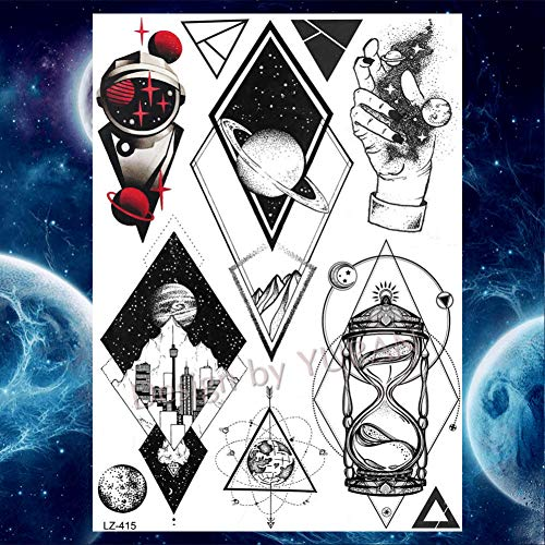 Tattoo für Kinder Bulk Galaxy Astronaut Tatoo temporäre Kind Katzen geometrische Tattoo Aufkleber Frauen Arm, Glz415 ()